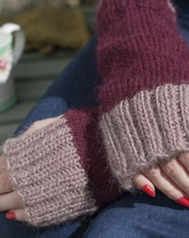 Fingerless Mitts - Burgundy/Lilac