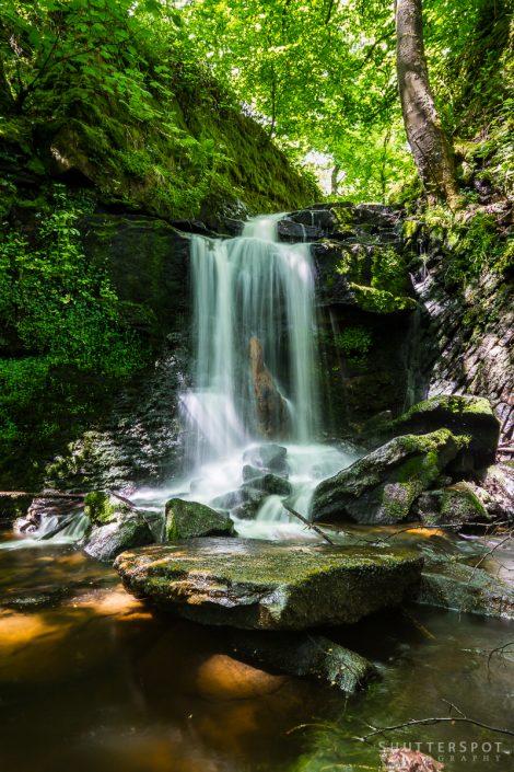 Clough House Wood Waterfall Portrait, Slaithwaite